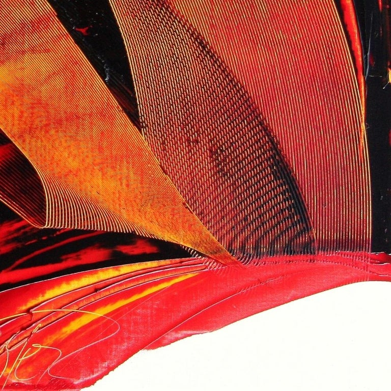Large Luminescent Dark Red Swell on White Background Abstract Oil Painting For Sale 10