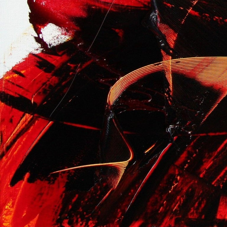 Large Luminescent Dark Red Swell on White Background Abstract Oil Painting For Sale 11