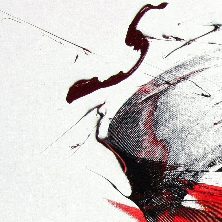 Large Luminescent Dark Red Swell on White Background Abstract Oil Painting For Sale 1