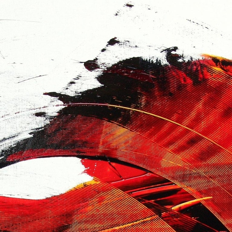 Large Luminescent Dark Red Swell on White Background Abstract Oil Painting For Sale 2