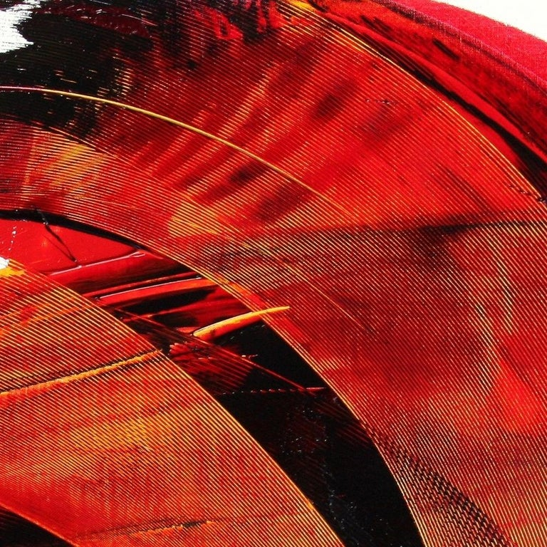 Large Luminescent Dark Red Swell on White Background Abstract Oil Painting For Sale 4