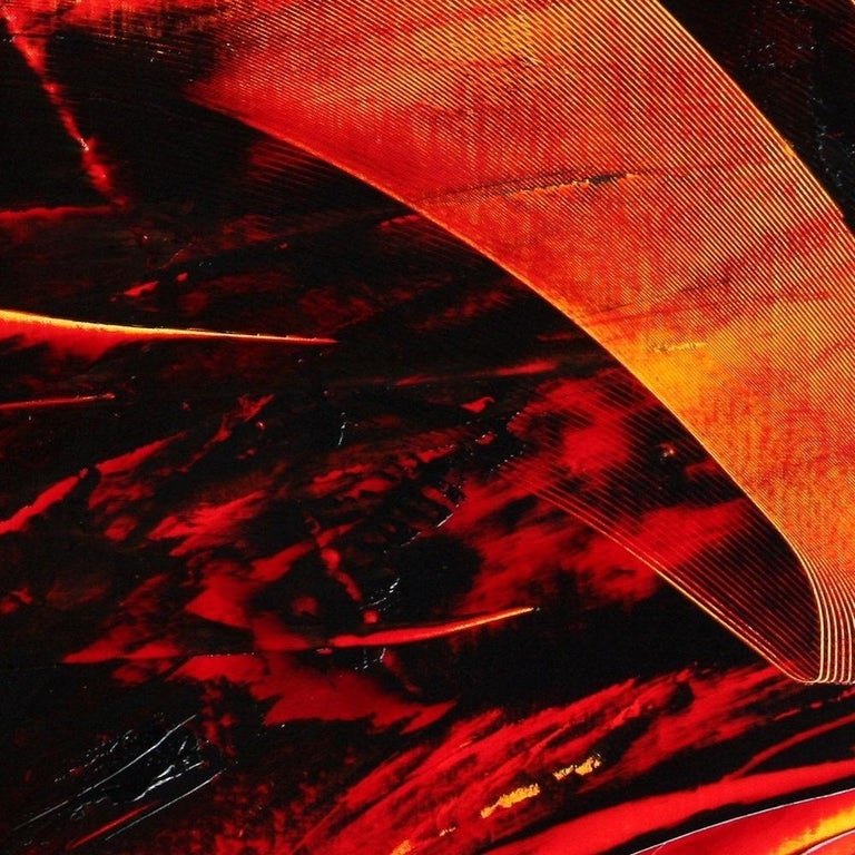 Large Luminescent Dark Red Swell on White Background Abstract Oil Painting For Sale 5