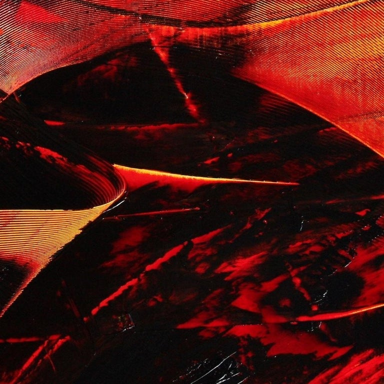 Large Luminescent Dark Red Swell on White Background Abstract Oil Painting For Sale 6