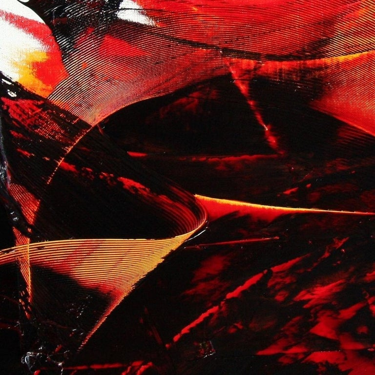 Large Luminescent Dark Red Swell on White Background Abstract Oil Painting For Sale 7