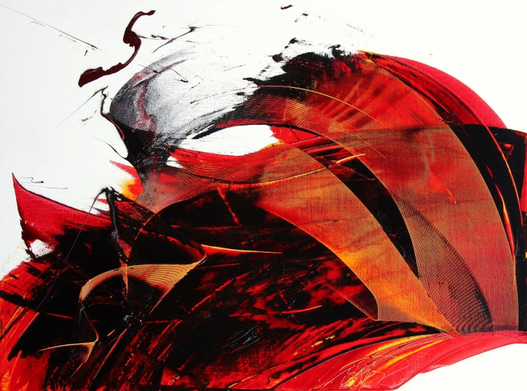 Jean Soyer Abstract Painting - Large Luminescent Dark Red Swell on White Background Abstract Oil Painting