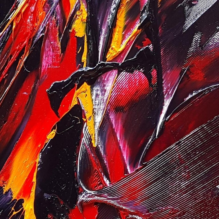 Large Powerful Butterfly Shaped Purple Red and Yellow Abstract Oil Painting For Sale 7