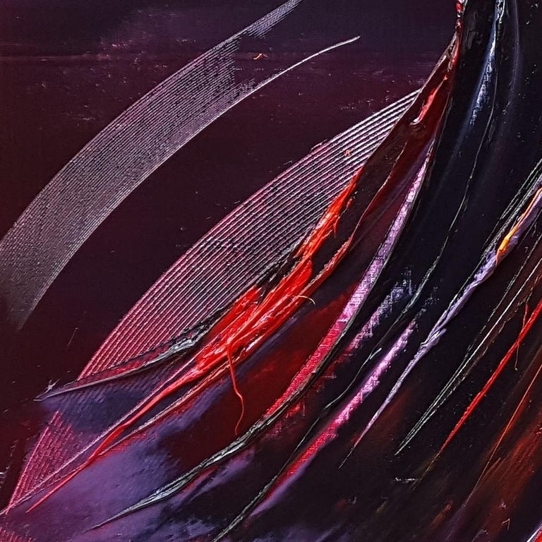 Large Powerful Butterfly Shaped Purple Red and Yellow Abstract Oil Painting For Sale 8