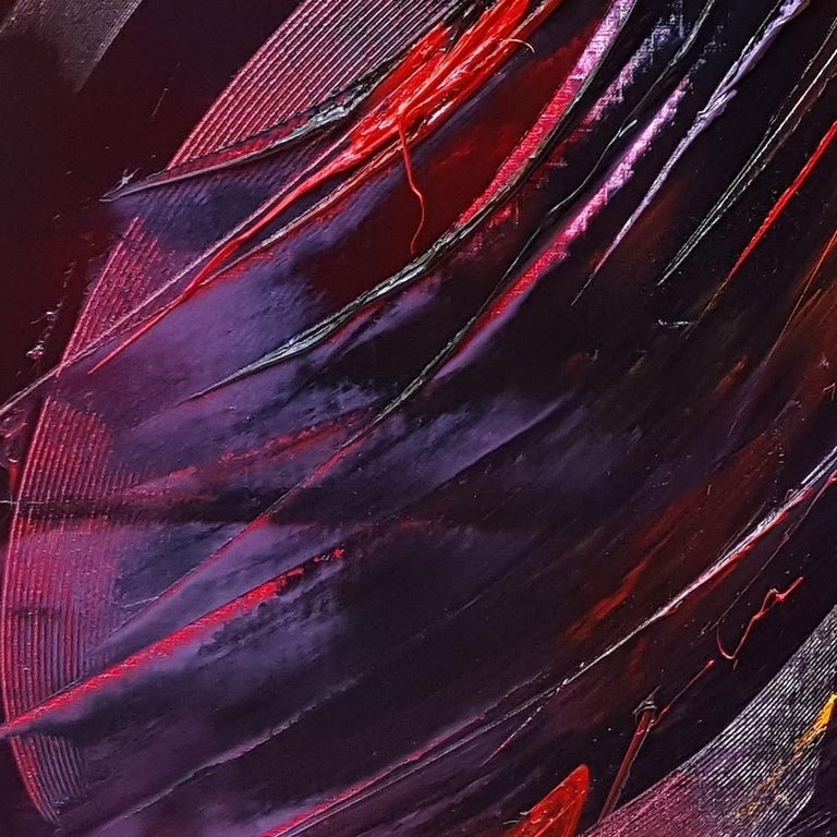 Large Powerful Butterfly Shaped Purple Red and Yellow Abstract Oil Painting For Sale 9