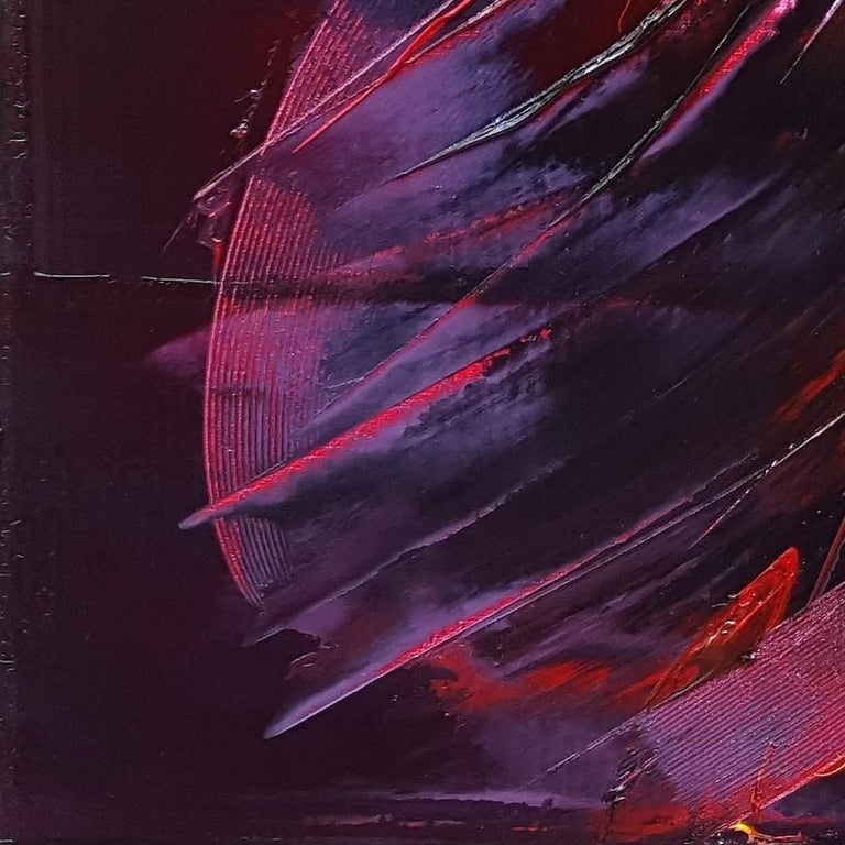 Large Powerful Butterfly Shaped Purple Red and Yellow Abstract Oil Painting For Sale 11