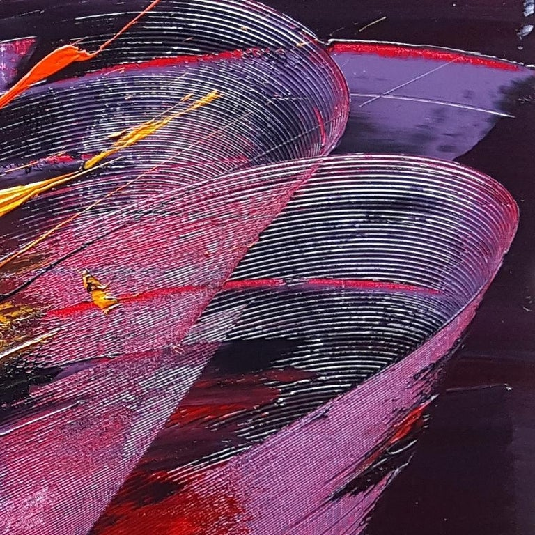 Large Powerful Butterfly Shaped Purple Red and Yellow Abstract Oil Painting For Sale 12