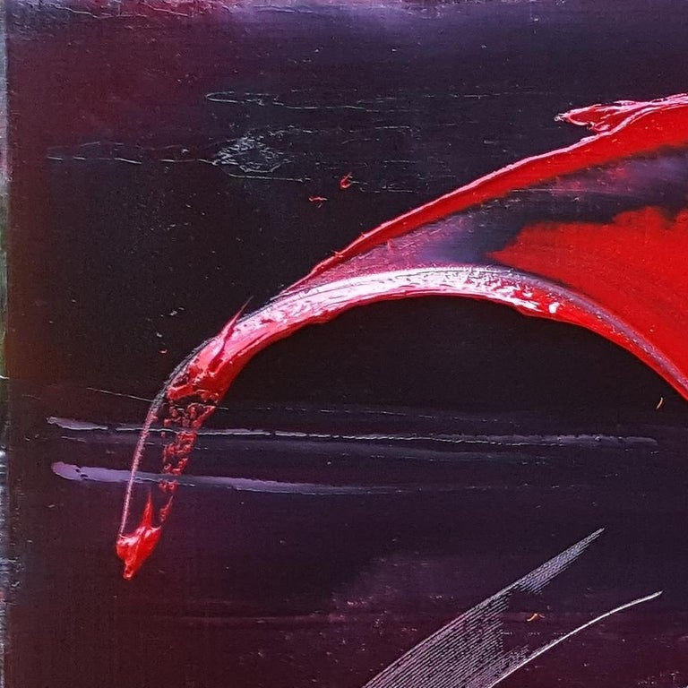 Large Powerful Butterfly Shaped Purple Red and Yellow Abstract Oil Painting For Sale 13