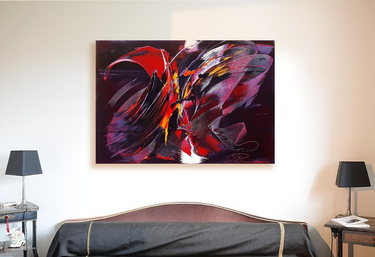 Large Powerful Butterfly Shaped Purple Red and Yellow Abstract Oil Painting - Black Abstract Painting by Jean Soyer
