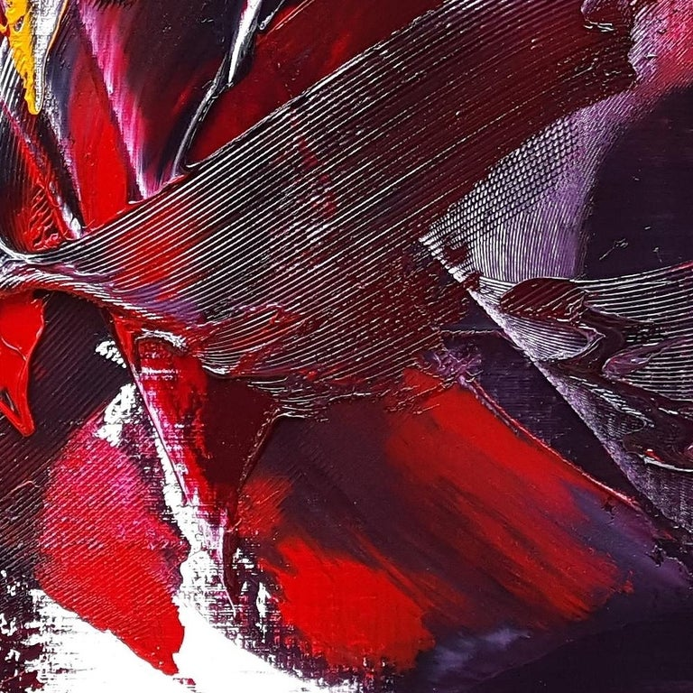 Large Powerful Butterfly Shaped Purple Red and Yellow Abstract Oil Painting For Sale 3