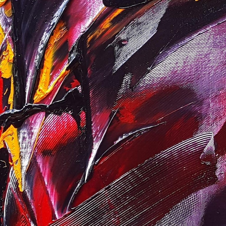 Large Powerful Butterfly Shaped Purple Red and Yellow Abstract Oil Painting For Sale 5