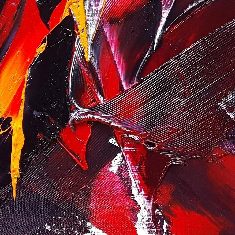 Large Powerful Butterfly Shaped Purple Red and Yellow Abstract Oil Painting For Sale 6