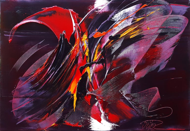 Jean Soyer Abstract Painting - Large Powerful Butterfly Shaped Purple Red and Yellow Abstract Oil Painting