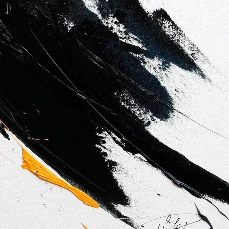 Large Yellow on Black and White Lyrical Abstraction Oil Painting For Sale 8