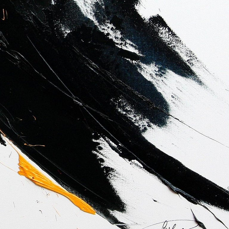 Large Yellow on Black and White Lyrical Abstraction Oil Painting For Sale 2