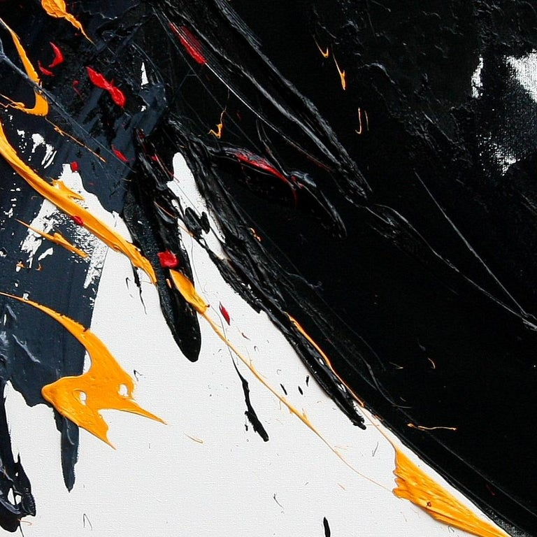 Large Yellow on Black and White Lyrical Abstraction Oil Painting For Sale 7