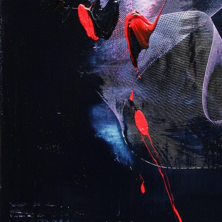 Mauve and Blue Evanescence & Red Touchs on Dark Background Abstract Oil Painting For Sale 11