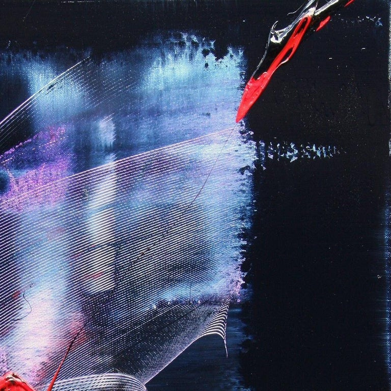 Mauve and Blue Evanescence & Red Touchs on Dark Background Abstract Oil Painting For Sale 12