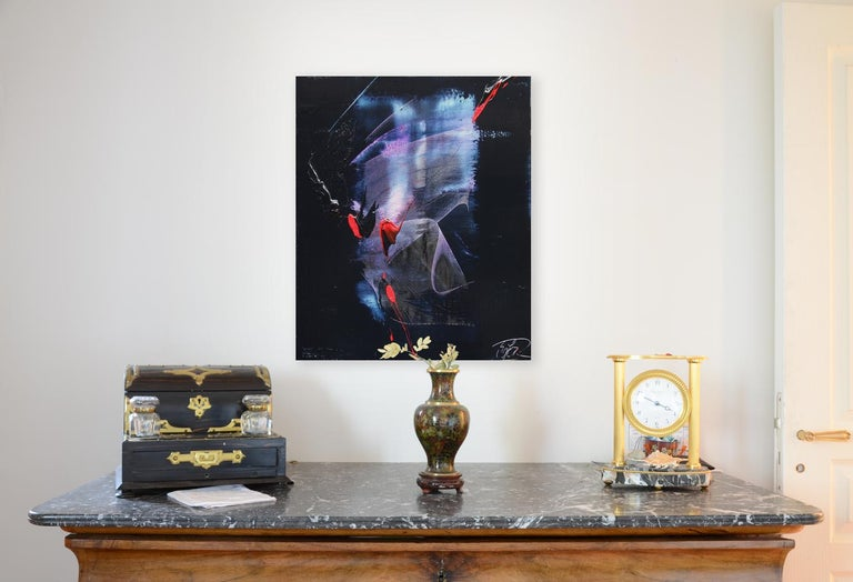 Mauve and Blue Evanescence & Red Touchs on Dark Background Abstract Oil Painting - Black Abstract Painting by Jean Soyer