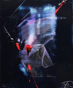 Mauve and Blue Evanescence & Red Touchs on Dark Background Abstract Oil Painting