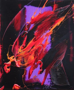 Orangish Shapes on Dark and Vivid Purple Background Abstract Oil Painting