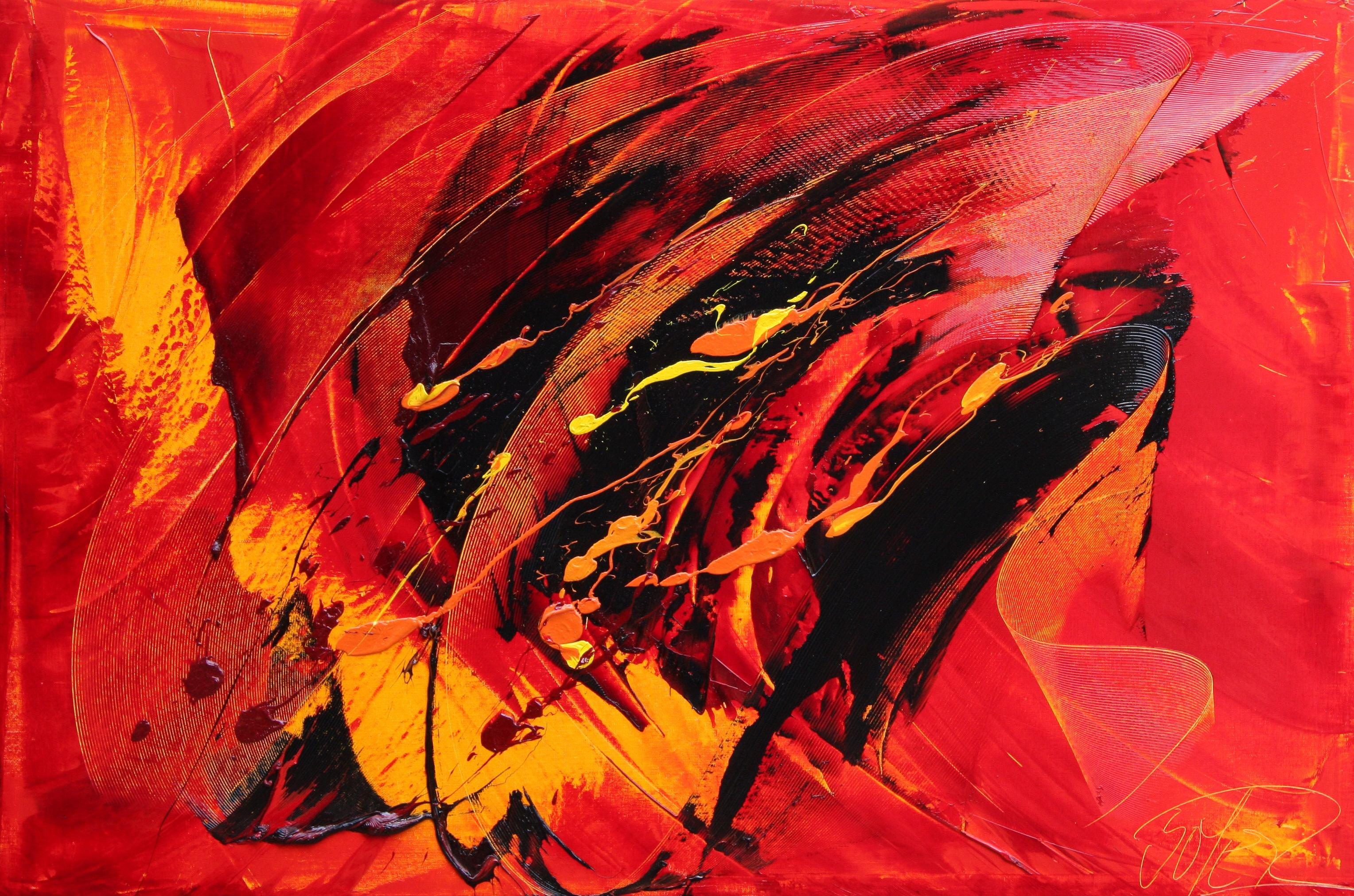 Powerful Large Black, Yellow and Orange on Red Background Abstract Oil Painting