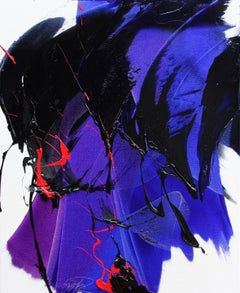 Purple, Blue and Red Dynamic Gesture on White Abstract Oil Painting, Untitled