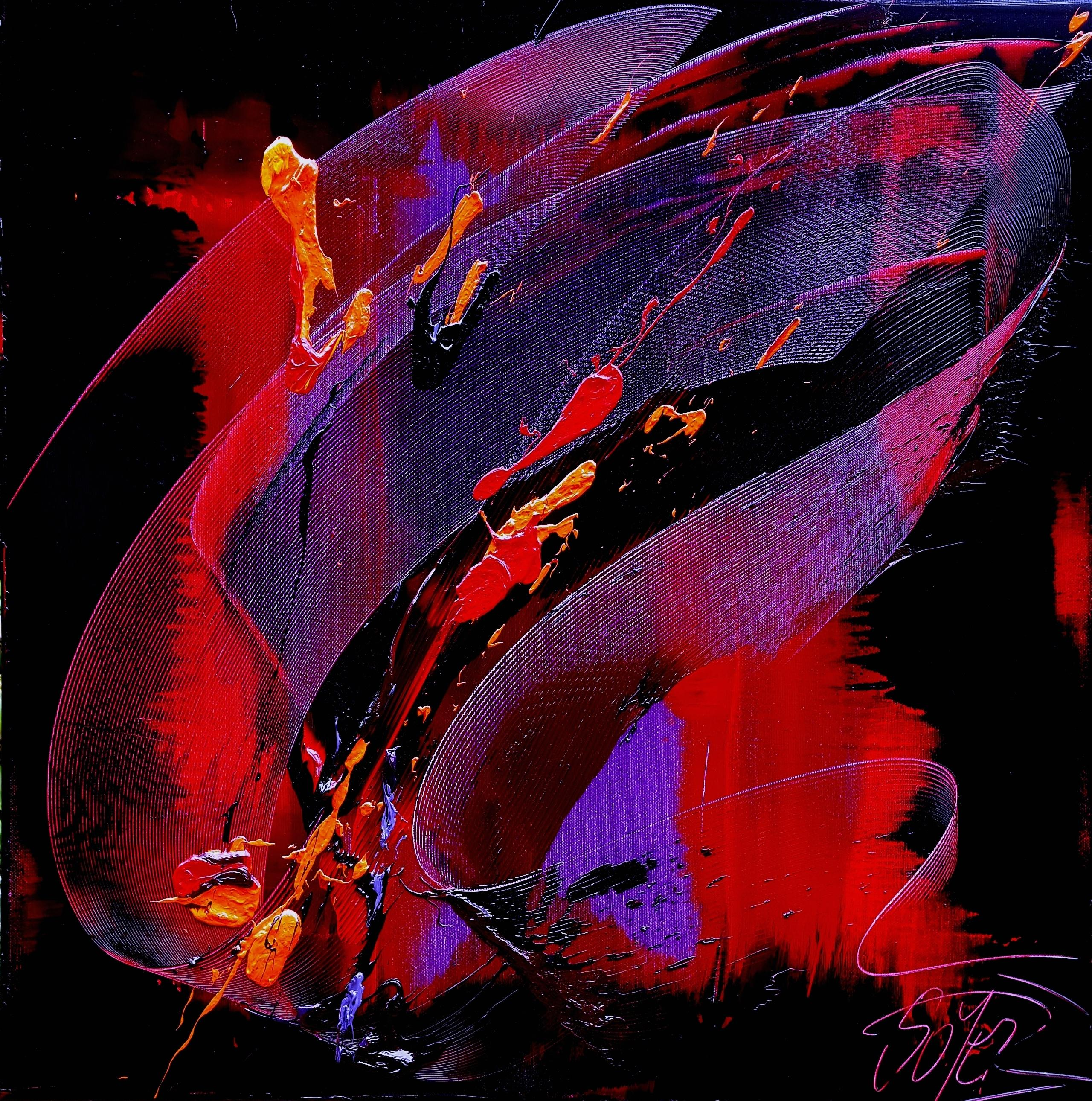 Purple, Red, Orange and Black Gestural Abstract Oil Painting