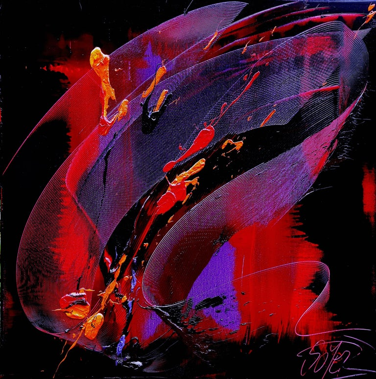 Jean Soyer Abstract Painting - Purple, Red, Orange and Black Gestural Abstract Oil Painting