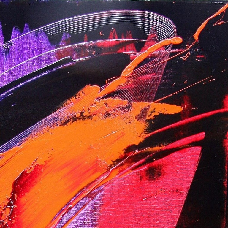 Purple, Red, Orange and Black Vertical Abstract Oil Painting For Sale 12