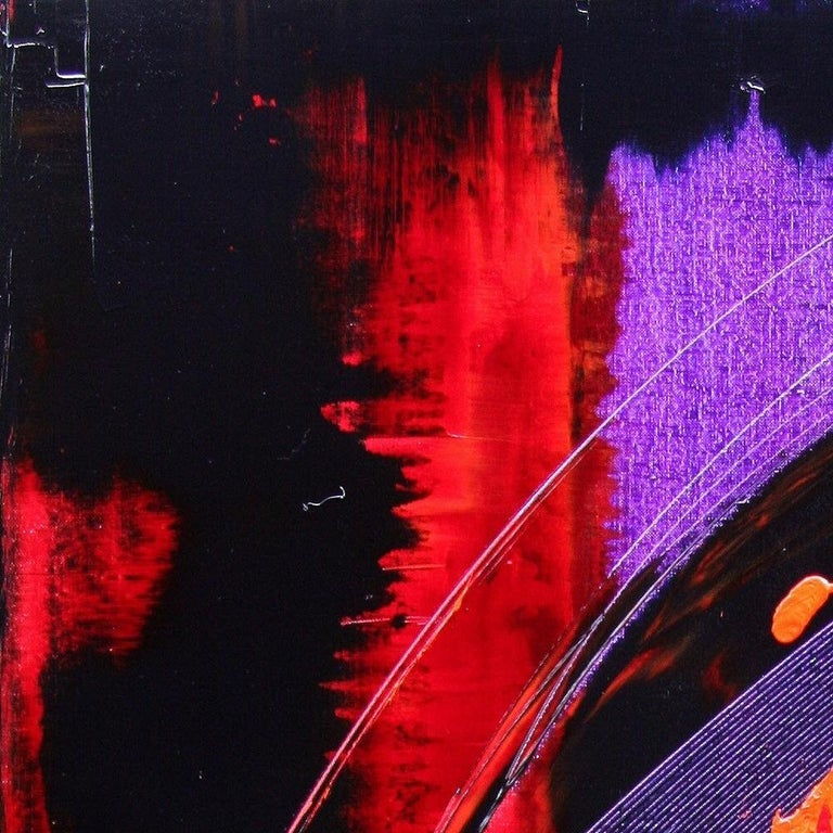 Purple, Red, Orange and Black Vertical Abstract Oil Painting For Sale 13
