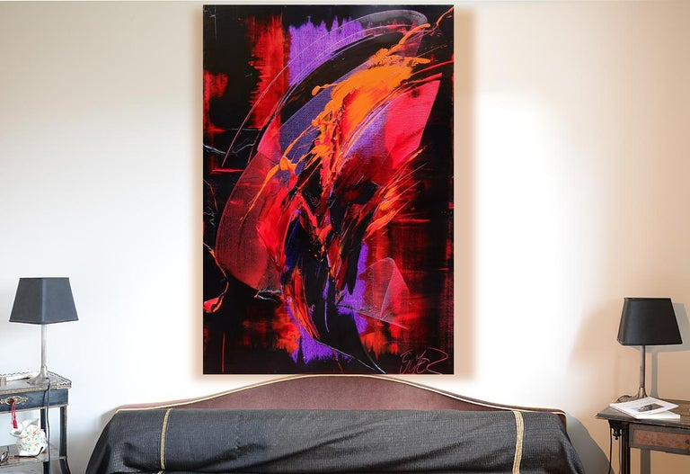 Purple, Red, Orange and Black Vertical Abstract Oil Painting For Sale 14