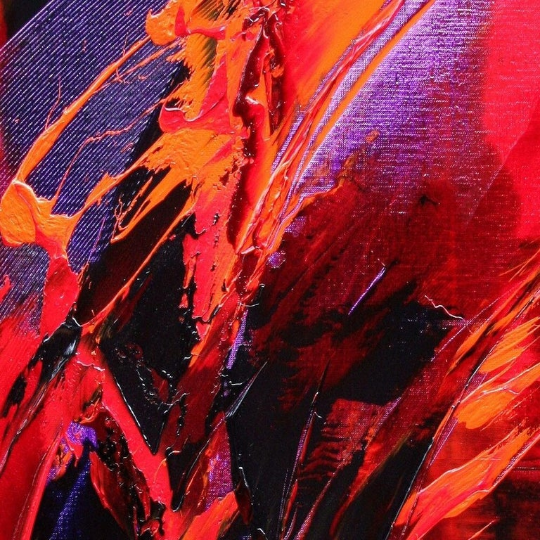 Purple, Red, Orange and Black Vertical Abstract Oil Painting For Sale 2