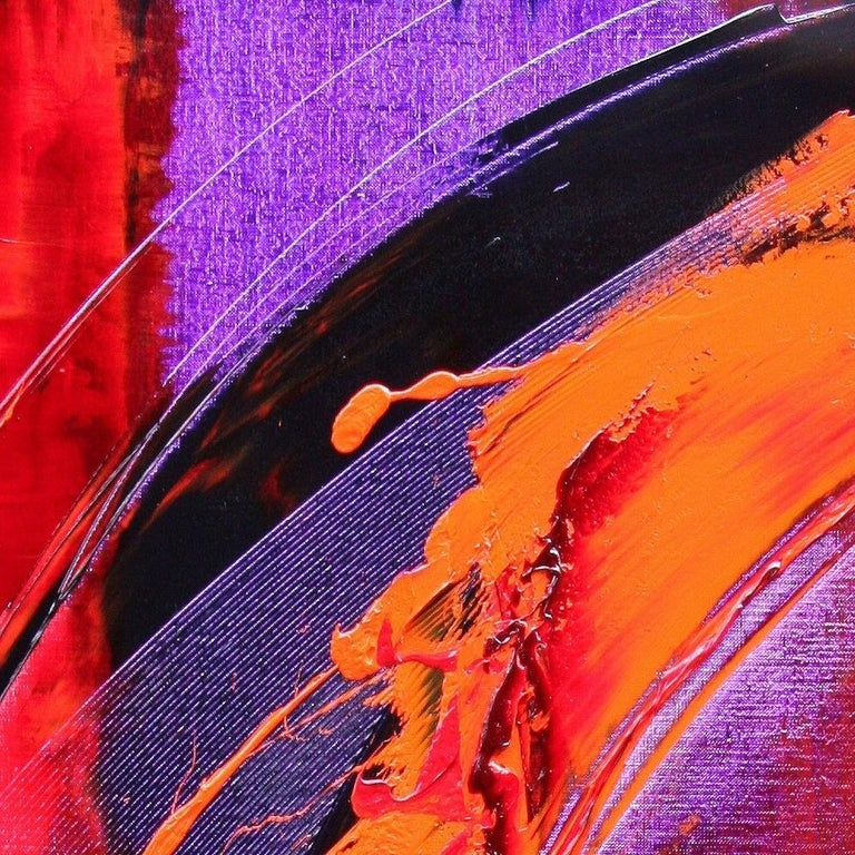 Purple, Red, Orange and Black Vertical Abstract Oil Painting For Sale 3