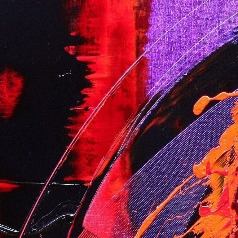 Purple, Red, Orange and Black Vertical Abstract Oil Painting For Sale 4