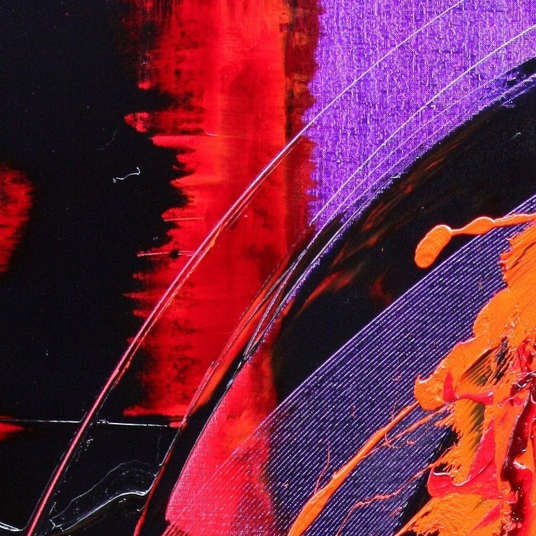 Purple, Red, Orange and Black Vertical Abstract Oil Painting For Sale 7