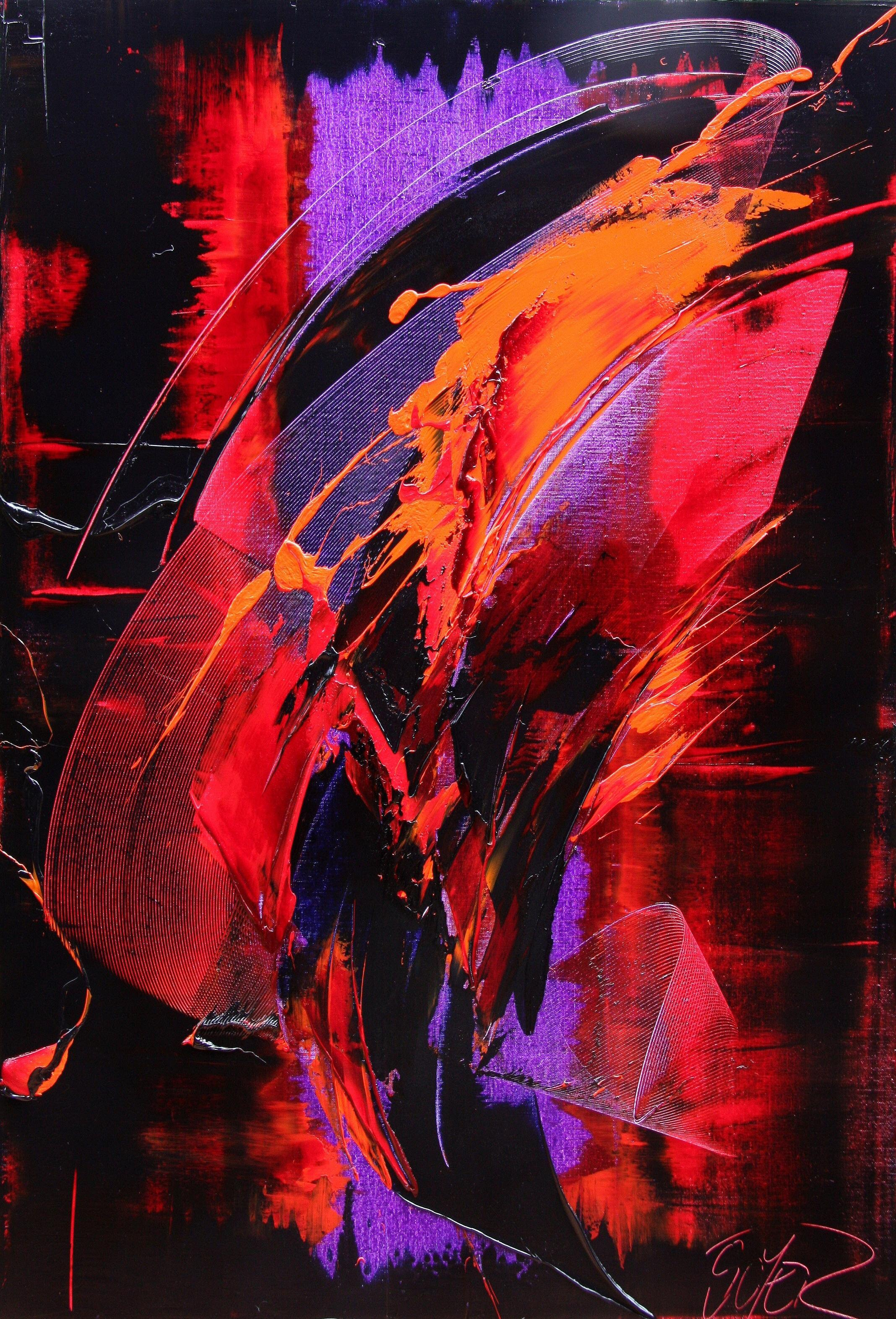 Purple, Red, Orange and Black Vertical Abstract Oil Painting