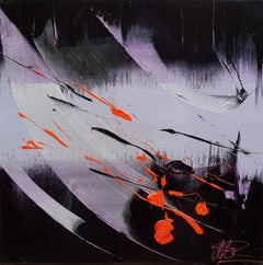 Red and Black on Black and Mauve Lyrical Abstraction Oil Painting, Untitled