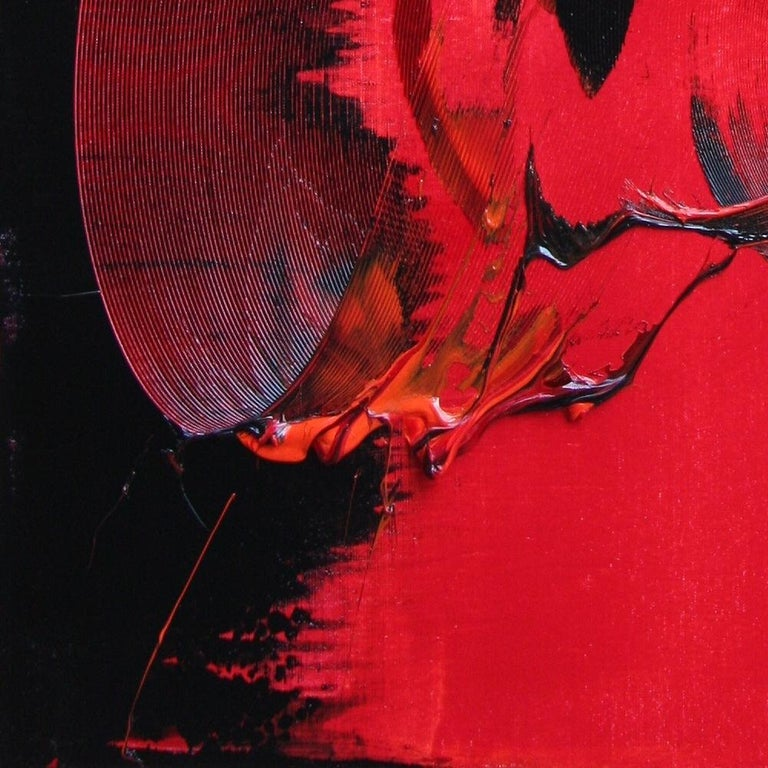 Red and Black Tornado Vertical Abstract Oil Painting For Sale 8
