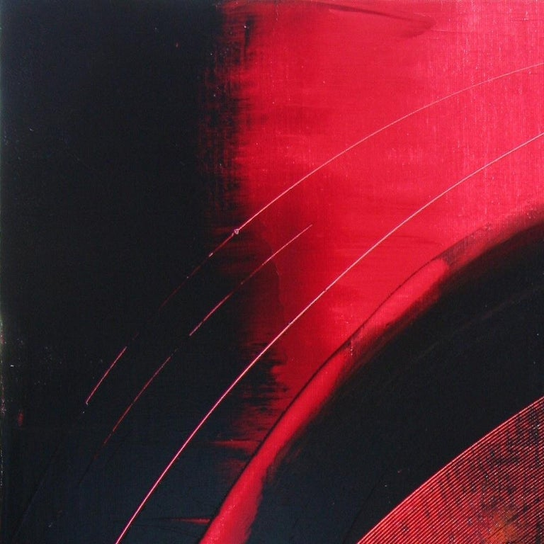 Red and Black Tornado Vertical Abstract Oil Painting For Sale 10