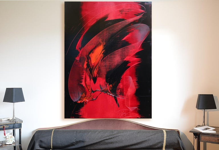 This artwork really demonstrates Jean Soyer's skills. It features a red and black cone-shaped comb back and forth movement following the top-left to bottom right diagonal, on a black and red background. The choice of colors, their contrast and the