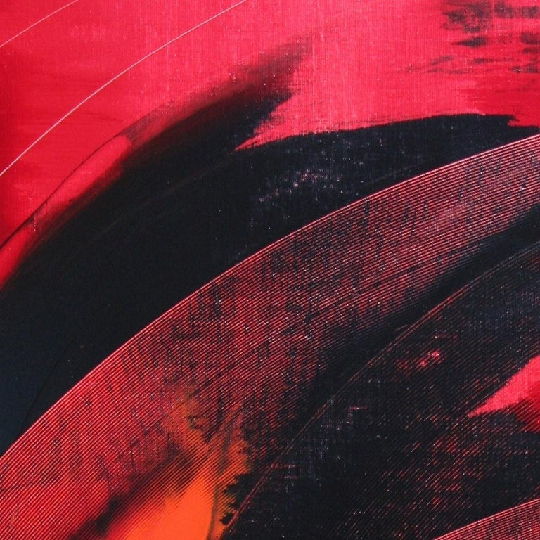 Red and Black Tornado Vertical Abstract Oil Painting For Sale 1