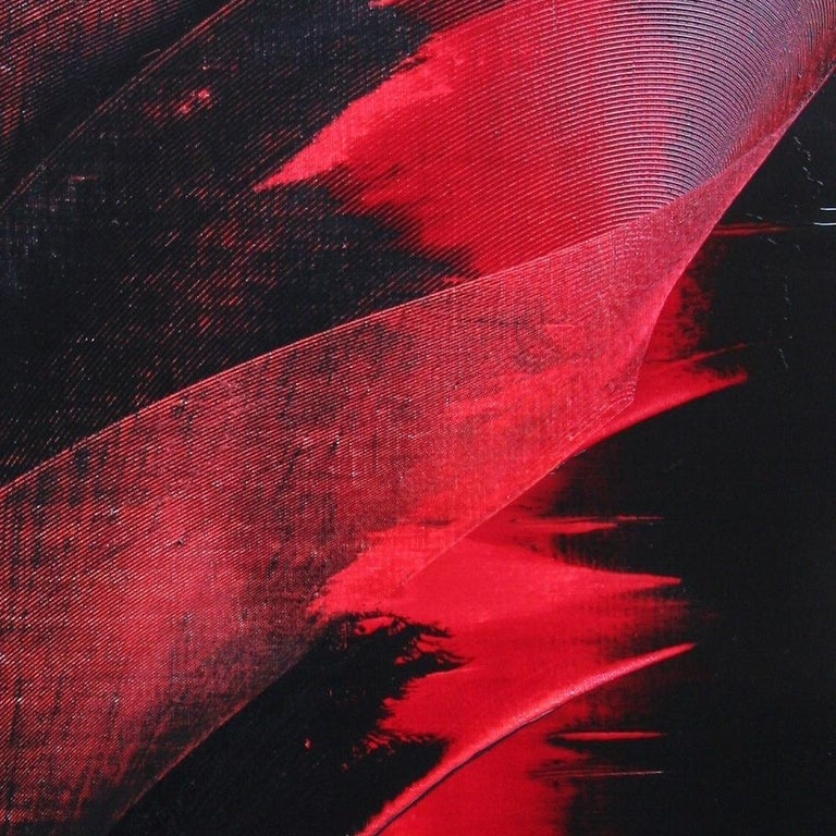 Red and Black Tornado Vertical Abstract Oil Painting For Sale 3