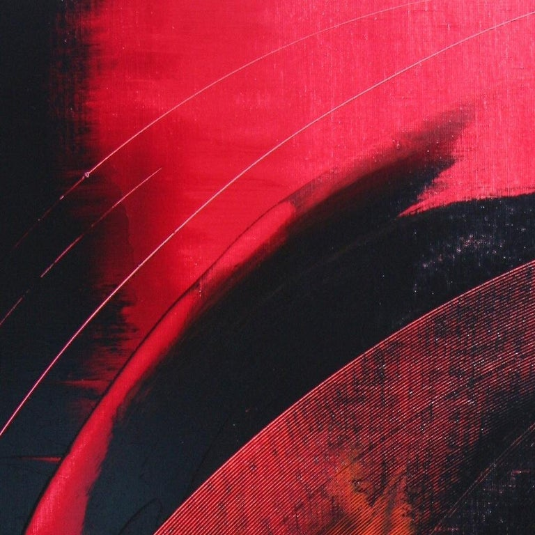 Red and Black Tornado Vertical Abstract Oil Painting For Sale 4