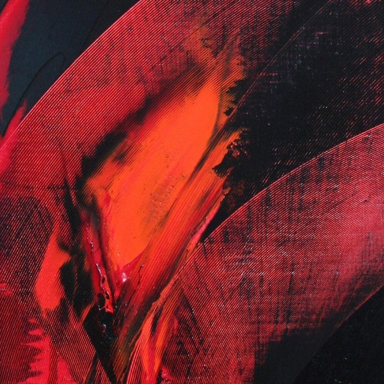 Red and Black Tornado Vertical Abstract Oil Painting For Sale 5