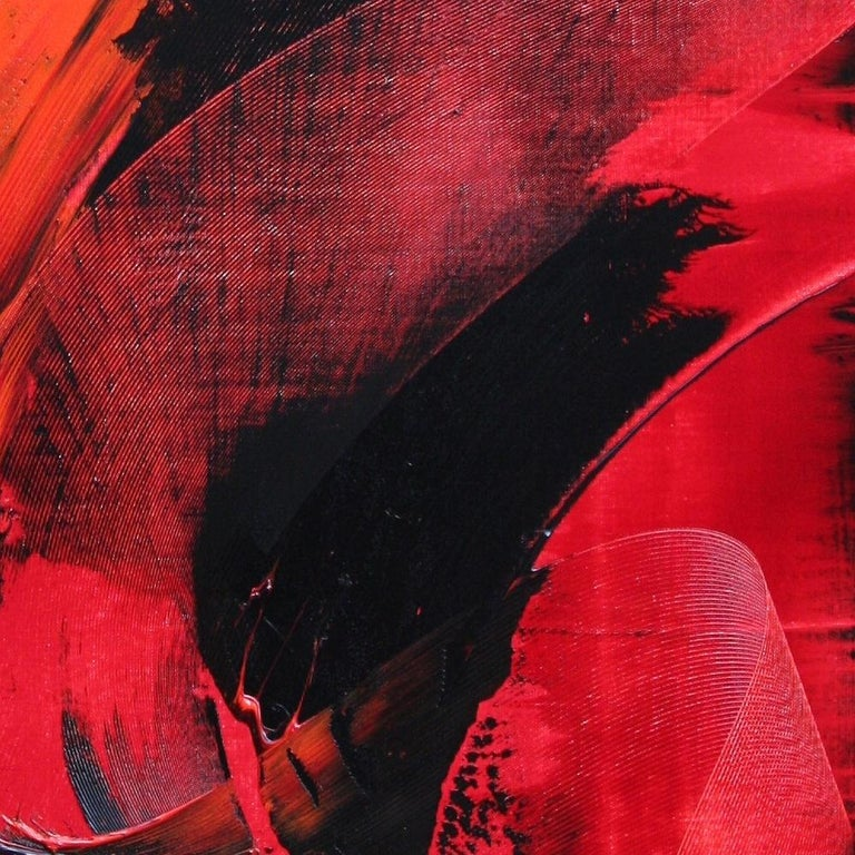 Red and Black Tornado Vertical Abstract Oil Painting For Sale 6