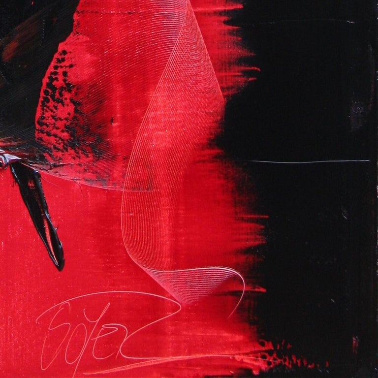 Red and Black Tornado Vertical Abstract Oil Painting For Sale 7
